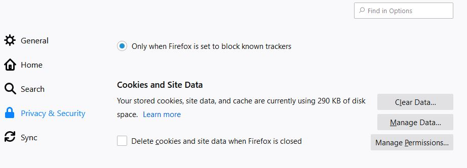 clear firefox cookies