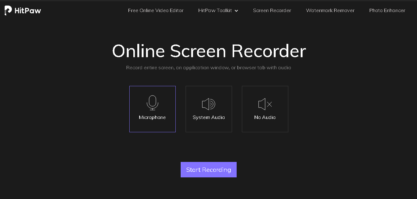 free screen recorder without watermark – select audio option